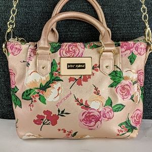 Betsey Johnson Small Crossbody Bag Pink With Roses
